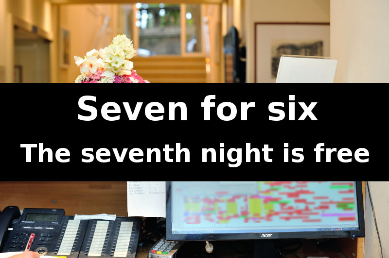 """Seven for six""… the seventh night is free in the middle and low seasons"